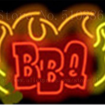 "BBQ Flame Glass Tube neon sign Handcrafted Light Bar Beer Club Custom signs Shop Store Business Signboard signage 17""x14"""