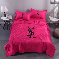 Rose Red Comfortable Soft YSL Bedding Blanket Quilt Coverlet Pillow Shams 4 PC Bedding Sets Home Decor