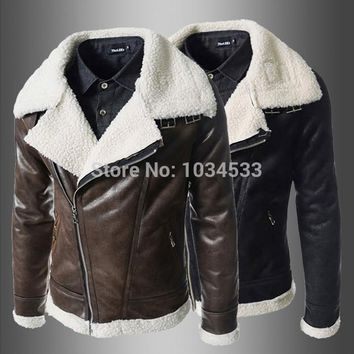 Fashion Men's Leather Jacket Pilot Air Force Military Leather Jacket Thick Cotton Liner Short Warm Jacket