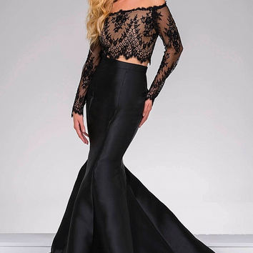 Black Off The Shoulder Two Piece Mermaid Jovani Dress 48695