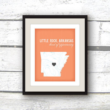 Arkansas Map - Arkansas Art - Little Rock Arkansas - State Art - Custom Home decor - 8x10 print