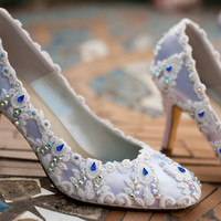 WEDDING SHOES BLUE Swarovski Crystals 64 by TheCrystalSlipper