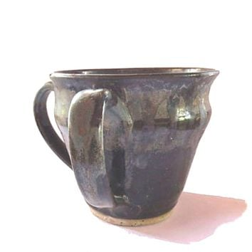 Rustic pottery handmade planter. Ceramic blue and brown plant pot