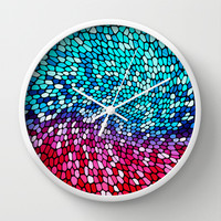 THINK TEAL AND PINK Wall Clock by catspaws