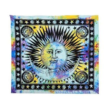 ESBU3C Durable Celestial Sun Hippy Tapestry Wall Hanging Throw Boho Window Doorway Curtain Beach Bikini Cover Up Shawl Pashmina Dec2