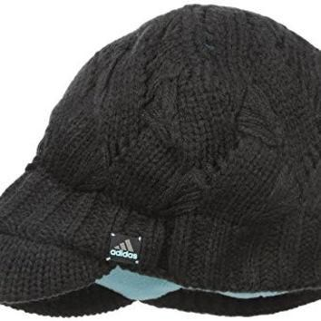 adidas Women's Heaven Brimmer Beanie, One Size, Black/Black Unix Stripe/Frozen Blue