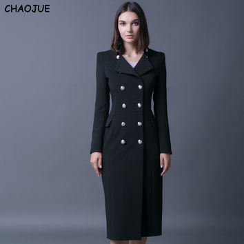 CHAOJUE Ultra-long Coat Trench Female 2017 Double Breasted Slim Shurg Overcoat Womens Cool Military Coats Free Shipping Coats