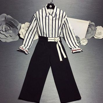 DCCKXT7 Dior' Women Temperament Fashion Long Sleeve Stripe Lapel Shirt High Waist Wide Leg Pants Trousers Set Two-Piece
