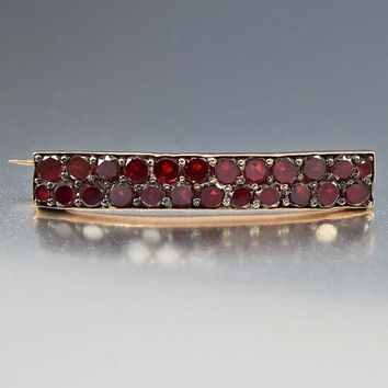 Rose Gold Antique Bohemian Garnet Bar Brooch