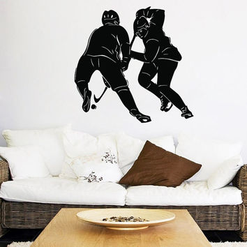 Hockey Wall Decal Hockey Player Stickers Sport Boy Room Decor Gym Home Design Interior Vinyl Decals Living Room Decor Cyber Monday Sale KY89