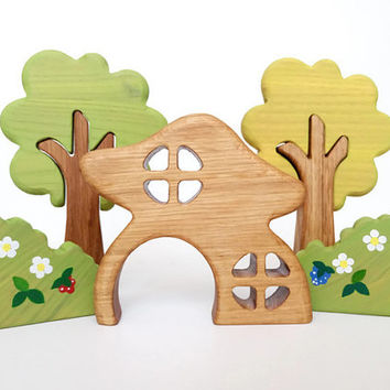 Waldorf Wooden Fairy House Toys for toddlers Woodland play set Waldorf play space Gnome House