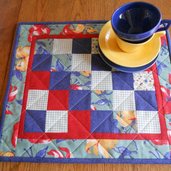 Patchwork Quilted Table Topper Candle Mat Navy Green Red