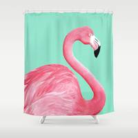 Pink Flamingo Shower Curtain by Lorri Leigh Art