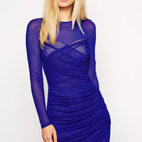 Royal Blue Full Sleeved Ruched Mesh Dress with Wrap Hemline