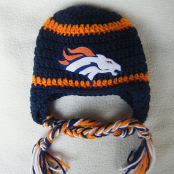 Crocheted Denver Bronco's Inspired  or (Choose your team)  Football Helmet Baby Beanie/hat - MADE TO ORDER - Handmade by Me