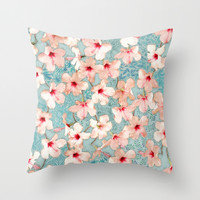 Shabby Chic Hibiscus Patchwork Pattern in Peach & Mint Throw Pillow by Micklyn