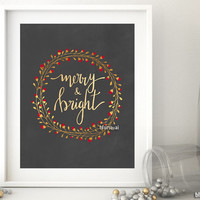 Gold wreath Merry & bright, printable Christmas decor in chalkboard and gold modern calligraphy