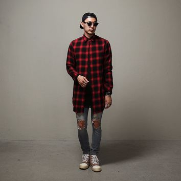 Mens Overlong Flannel Tartan Plaid Shirt at Fabrixquare
