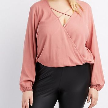 Plus Size Strappy Surplice Blouse