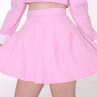 Glitters For Dinner — Made To Order - Baby Pink Pleated Mini Skirt