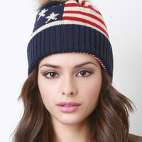 Fur Pom Pom Flag Knit Beanie