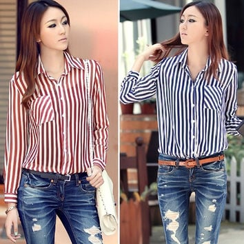 Women's Stripes Long Sleeve Turn-down Collar Elegant Blouse Tops Shirt   11526 = 1904595844