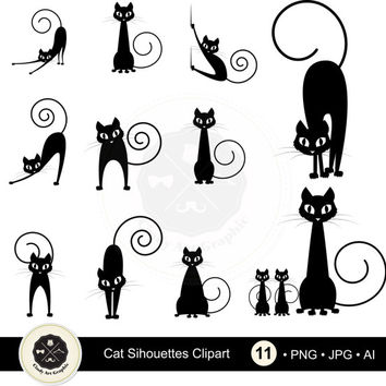 Cat Silhouettes Clipart,Silhouettes clipart, animal clipart, digital download-BUY 1 GET 1 FREE! Use Code: 1GET12016