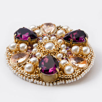 Brooch pendant Swarovski amethyst Embroidery Stylish fashion jewelry For her Large pendant Gold amethyst colours Fine jewelry