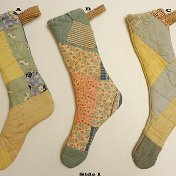 Vintage Quilt Stocking, Primitive Stockings, Christmas Decor, Country Farmhouse Decor