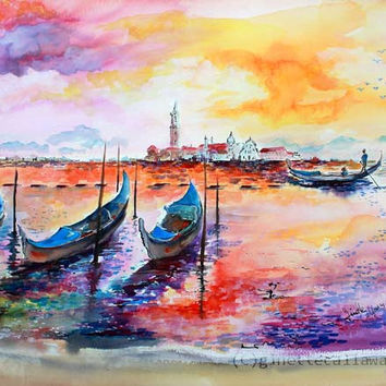 Gondola Ride In Venice Romantic Italy Watercolor and Ink