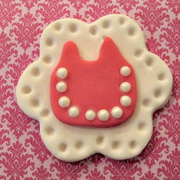 Sweet little Hot Pink Baby Bibs, Fondant Cupcake Toppers. Set of 12 (1 dozen)