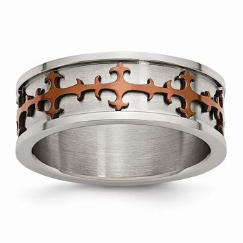 Men's Stainless Steel Chocolate IP-plated Crosses Ring