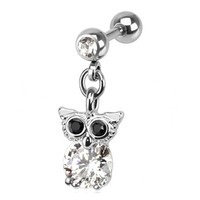 16g Clear and Black Gem Owl Dangle Cartilage Earring Body Jewelry Piercing with Surgical Steel Barbell 16 Gauge