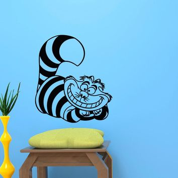 Alice In Wonderland Vinyl Wall Decal- Cheshire Cat Wall Decal Sticker For Nursery Art Vintl Animal Cat Mural - D-312