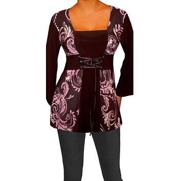 Funfash Plus Size Corset Style Black Purple Women's Plus Size Blouse Top Shirt