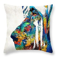 "Colorful Bloodhound Dog Art By Sharon Cummings Throw Pillow 14"" x 14"""