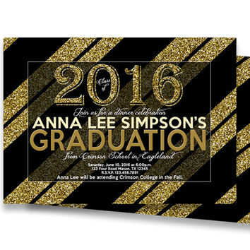 Gold Glitter Graduation Invitation - Graduation Announcement - High School College Class of 2016 - Dinner Invite Elegant Black Boy Girl Man
