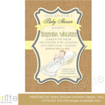 Baby Shower Invitation, boy, girl, baby shower - Prince, Princess, yellow, brown burlap - 5x7 - vintage style unique - You Print