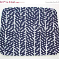 Christmas in July SALE Herringbone Mouse Pad mousepad / Mat - Rectangle - chevron navy blue