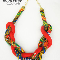 Red Chunky Rope Necklace - Ethnic Rope Necklace - African Necklace - red, green, blue, yellow & black