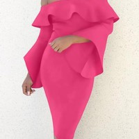 Rose Carmine Ruffle Backless Off Shoulder Flare Sleeve Bodycon Prom Party Midi Dress