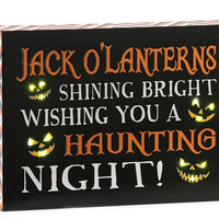 LED LIGHTED HALLOWEEN CANVAS PRINT, JACK O'LANTERNS