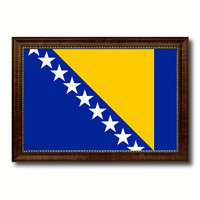 Bosnia Country Flag Canvas Print with Black Picture Frame Home Decor Gifts Wall Art Decoration Gift Ideas