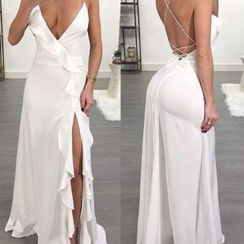 White Spaghetti Strap Ruffle Side Slit Deep V-neck Flowy Las Vegas Maxi Dress