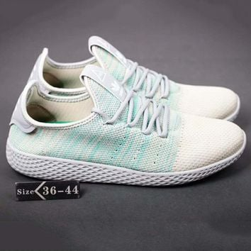 Adidas Pharrell Tennis HU Women Men Running Sport Casual Shoes Sneakers Lack blue-Beige G-SSRS-CJZX