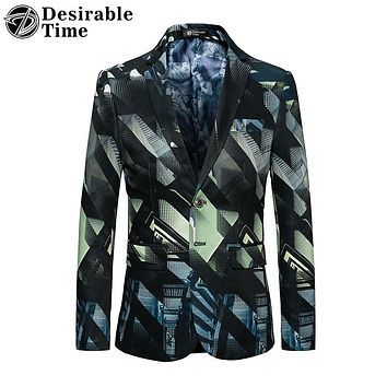 Men Geometric Printed Blazer Designs Fashion Party Stage Costumes Blazer Men Slim Fit