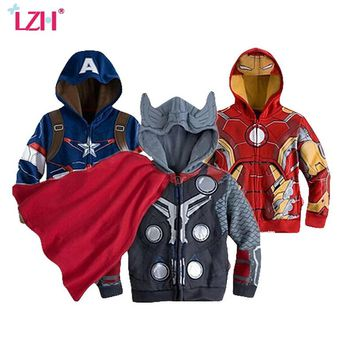 LZH 2017 Autumn Spring Jacket For Boys Avengers Iron Man Hooded Jacket Kids Infant Boy Coat Children Outerwear Coat Boys Clothes