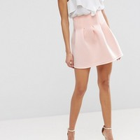 ASOS High Waisted Mini Skirt in Scuba with Lantern Detail at asos.com