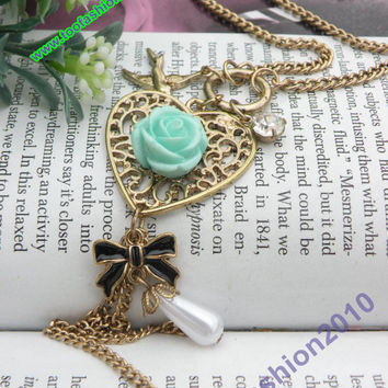 Retro copper vine heart with resin flower by toofashion2010