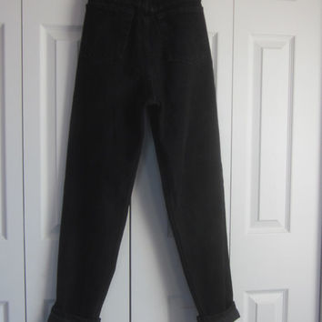 Vintage Black Mom Jeans, High Waisted Jeans, 90s Grunge Hipster Womens Size 8, Black High Waist Denim Jeans 30 Waist